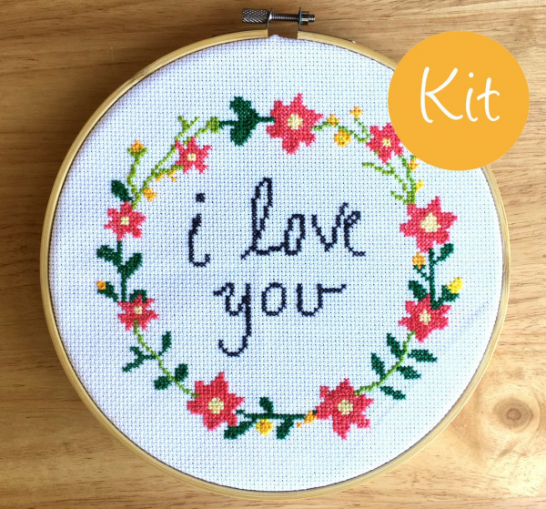 i love you cross stitch kit