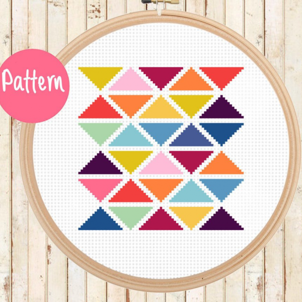 modern triangles cross stitch pattern kit