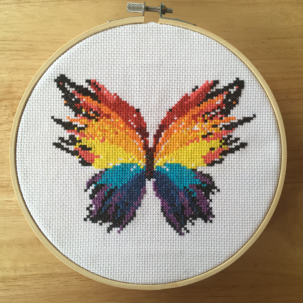 rainbow butterfly cross stitch pattern kit, leia patterns
