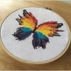 colorful rainbow butterfly modern cross stitch counted kit pattern design, leia patterns
