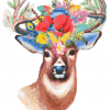 floral deer cross stitch pattern kit, leia patterns, happy cross stitch, counted