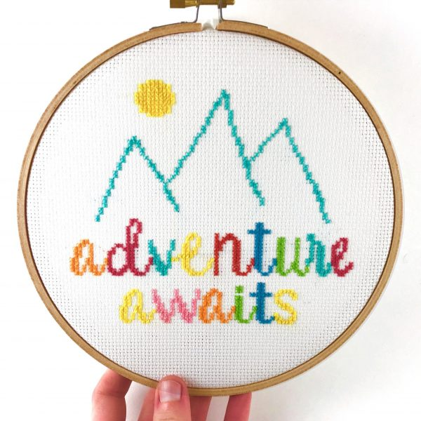 Adventure Awaits Cross Stitch Pattern by Leia Patterns, happy cross stitch