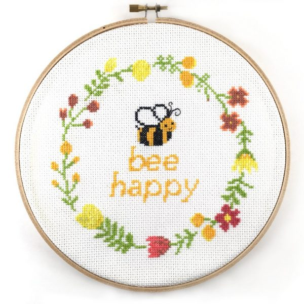 bee happy cross stitch kit happy cross stitch leia patterns, counted cross stitch, embroidery