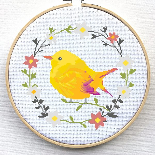 Bird Cross Stitch Kit - Floral Wreath Cross Stitch Kit