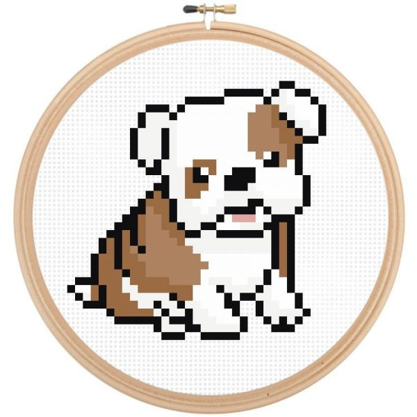 bull dog cross stitch pattern puppy leia patterns happy cross stitch