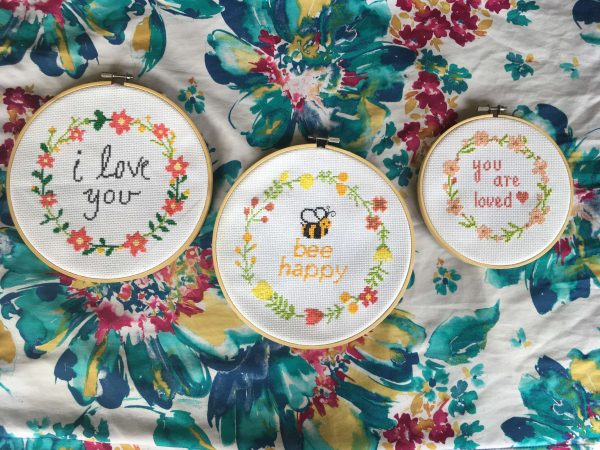 Floral Wreath Cross Stitch Patterns Set - Bee Happy, I Love You, and You Are Loved