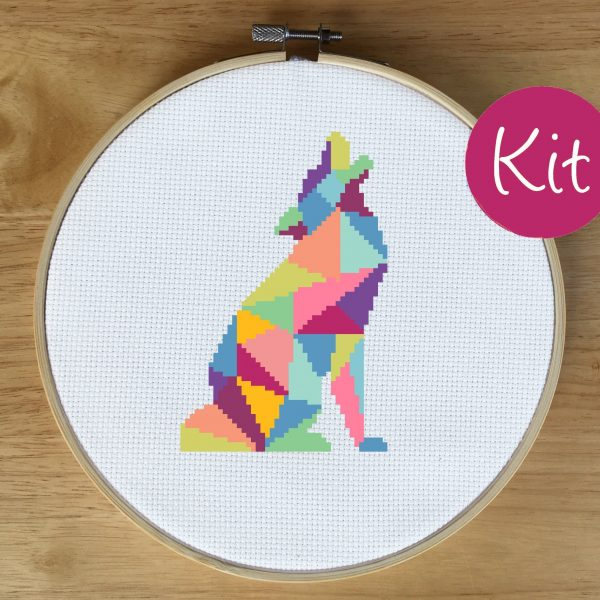 Wolf Counted Cross Stitch Kit - Geometric Wolf Cross Stitch