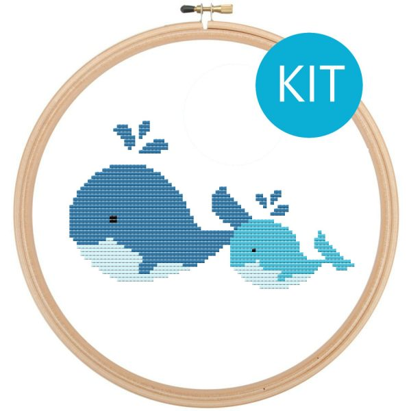 whale cross stitch kit, leia patterns, happy cross stitch, counted cross stitch, embroidery, whales, cute baby animal, beginner