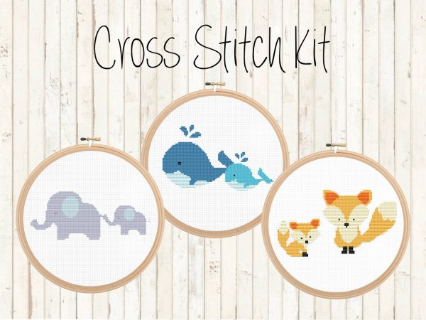 cute animals cross stitch kits, happy cross stitch, leia patterns, elephants, whales, foxes