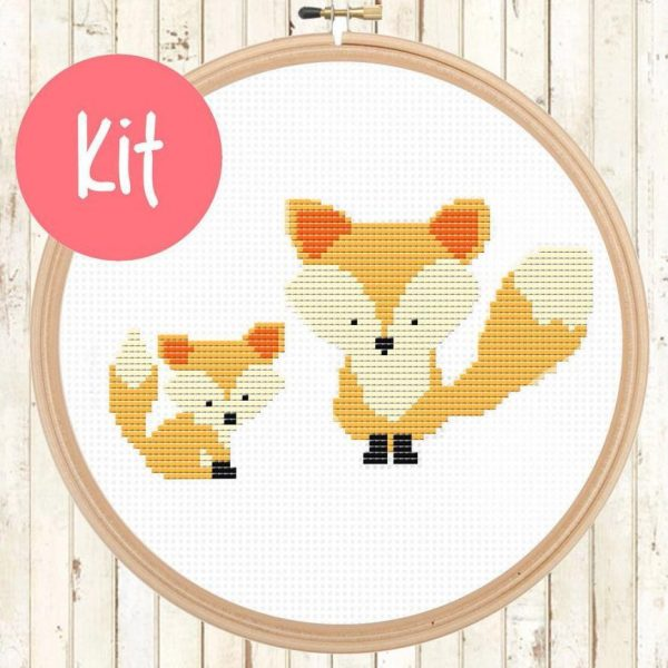 fox cross stitch pattern, happy cross stitch, leia patterns, cute animals counted
