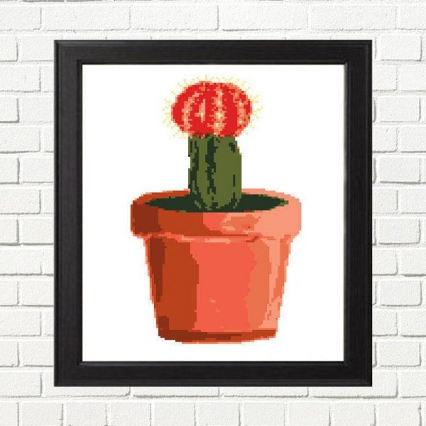 Red Top Cactus Cross Stitch Pattern by Happy Cross Stitch, leia patterns
