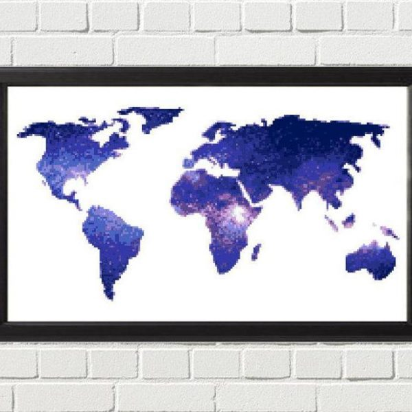blue galaxy cross stitch map happy cross stitch