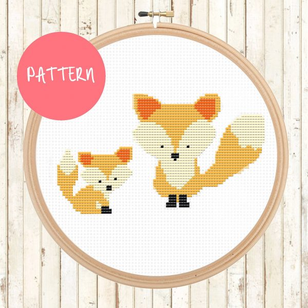 fox cross stitch pattern