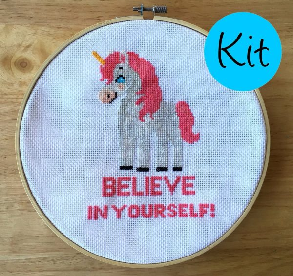 believe in yourself unicorn pattern cross stitch happy leia