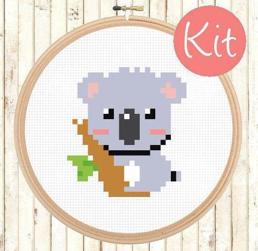 beginner koala cross stitch pattern kit, happy cross stitch, leia patterns, cute baby animal