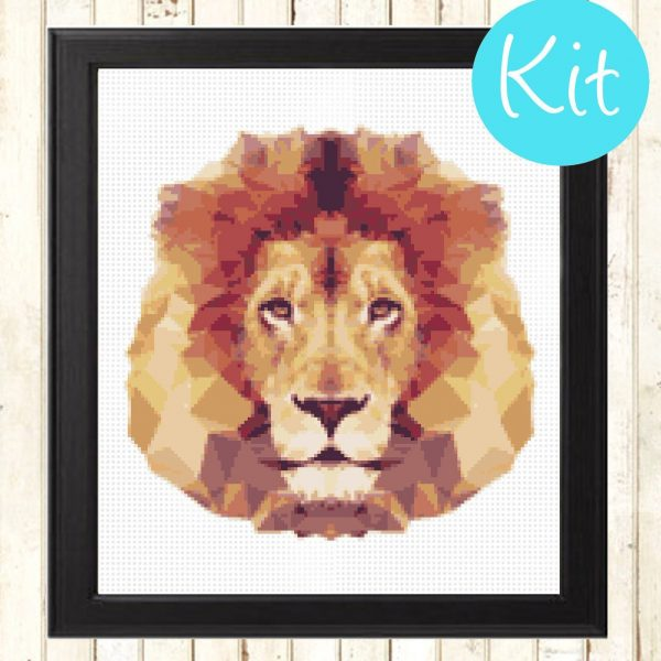 Geometric Lion Cross Stitch Kit