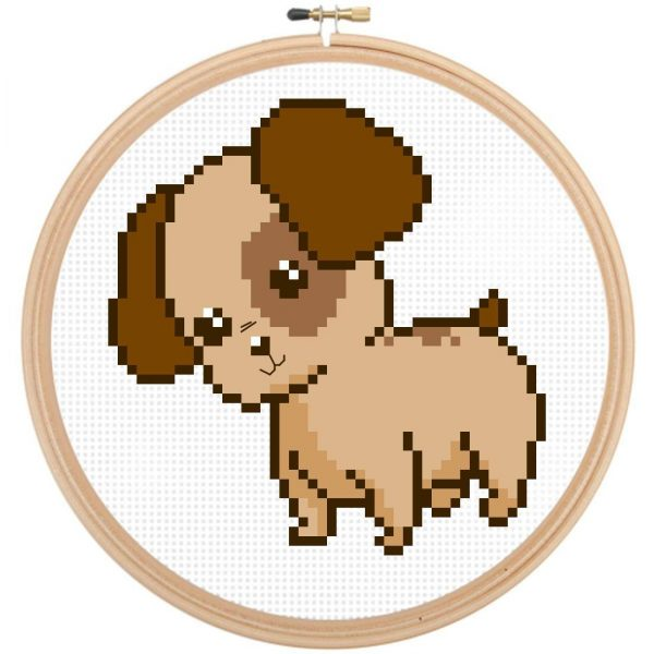 Cute Dog Cross Stitch Pattern, Puppy Cross Stitch - leia patterns