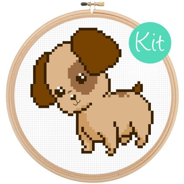 puppy dog cross stitch kit, counted cross stitch, embroidery, beginner kids, happy cross stitch, leia patterns