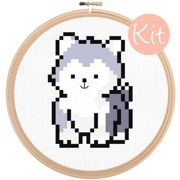 husky dog cross stitch pattern kit