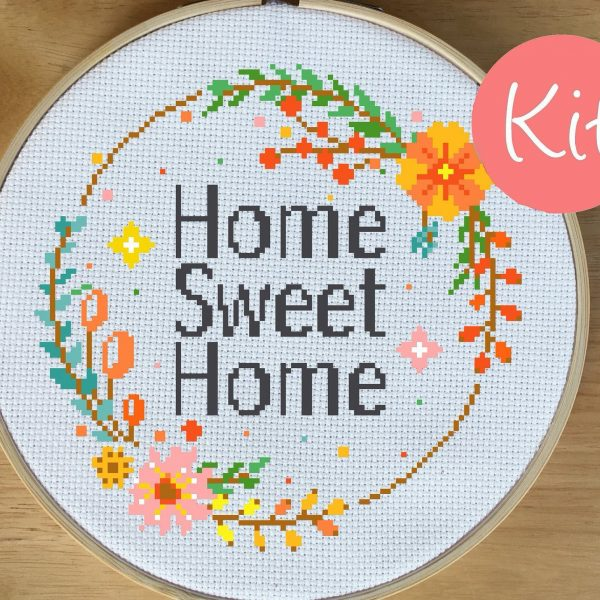 home sweet home cross stitch kit, happy cross stitch, leia patterns, counted cross stitch, embroidery