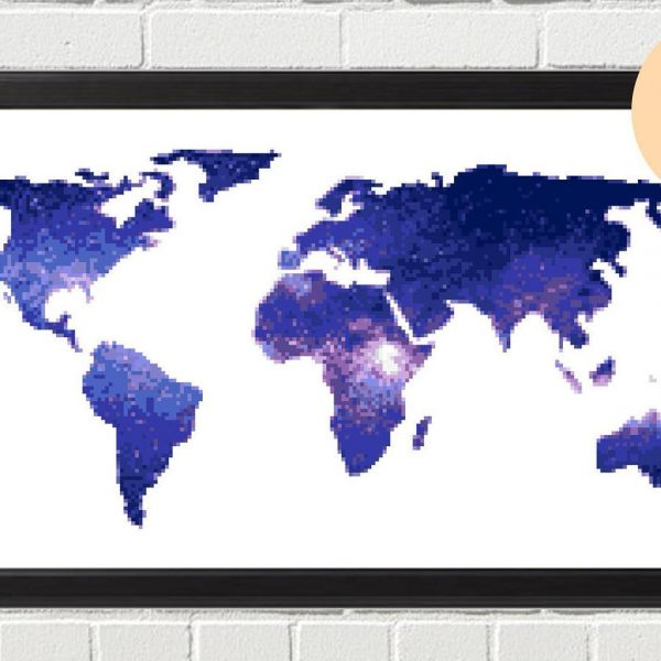Galaxy World Map Cross Stitch Kit - Blue
