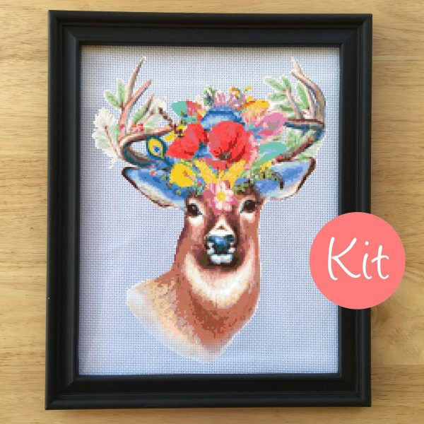 Deer Cross Stitch Kit, Floral Cross Stitch Kit