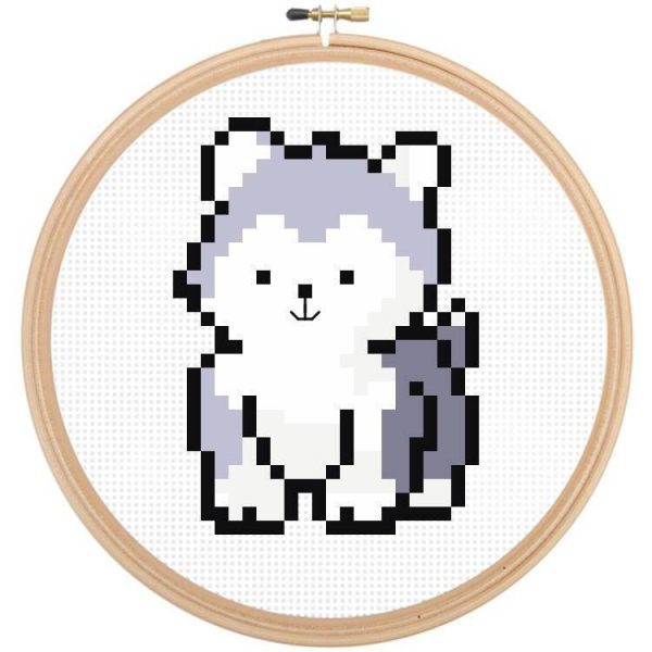 Husky Dog Cross Stitch Pattern by Happy Cross Stitch