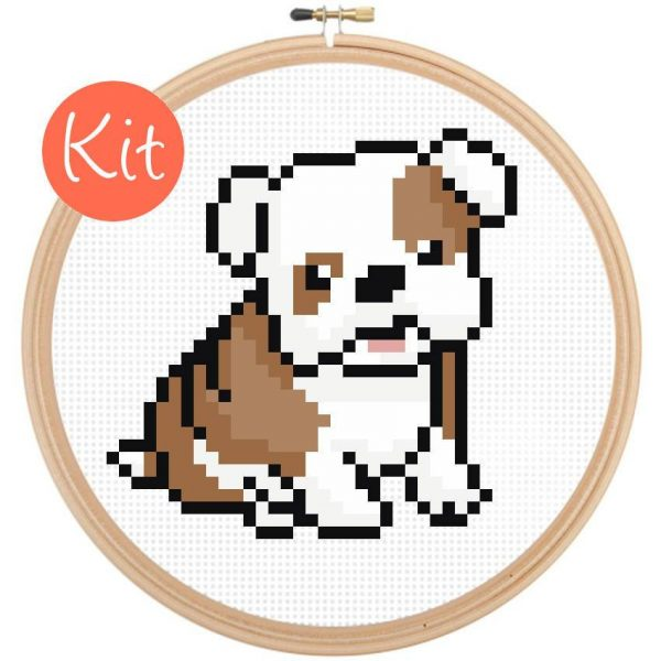 bull dog cross stitch pattern kit, happy cross stitch, leia patterns, cute beginner pattern