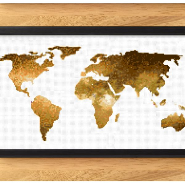 World Map Cross Stitch Pattern - Gold