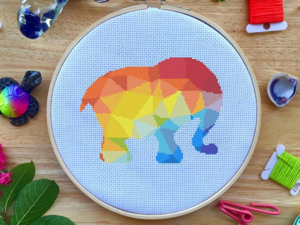colorful elephant geometric cross stitch pattern kit, happy cross stitch, leia patterns