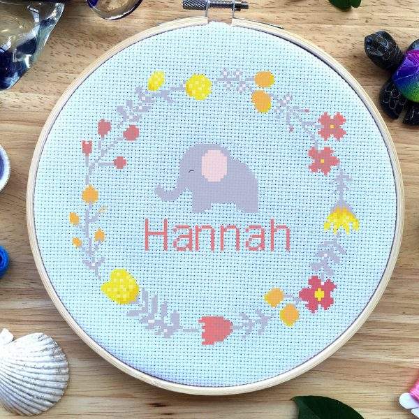 custom baby name elephant flower floral wreath cross stitch pattern kit, embroidery, custom, counted, happy, leia patterns
