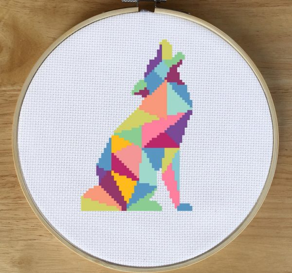 geometric wolf cross stitch pattern kit, happy cross stitch, leia patterns