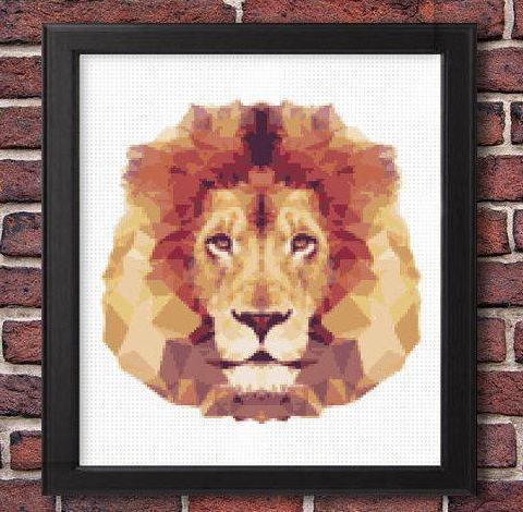 lion cross stitch pattern, modern geometric pattern, leia patterns