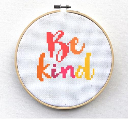 Quote Cross Stitch Kit - Be Kind | Leia Patterns, happy cross stitch