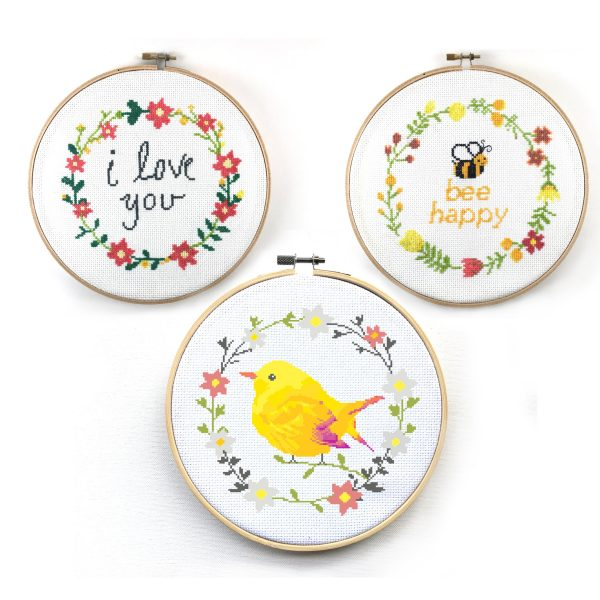 Floral Wreath Cross Stitch Patterns Set - Bee Happy, I Love You, and Bird Floral Wreath, happy cross stitch, leia patterns