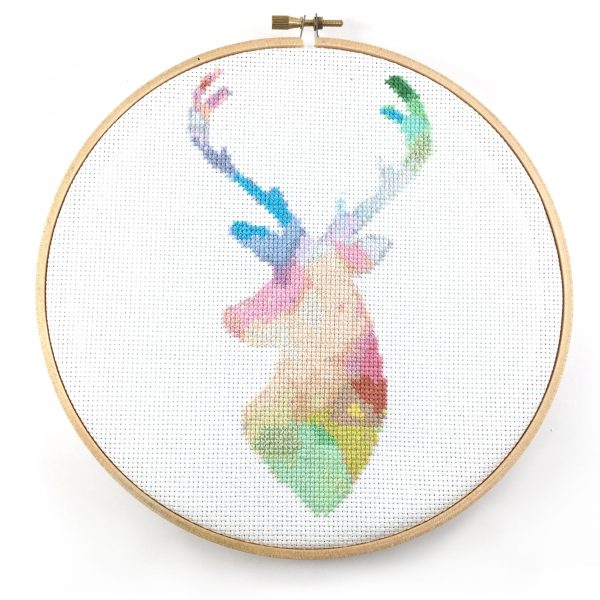 watercolor deer cross stitch pattern