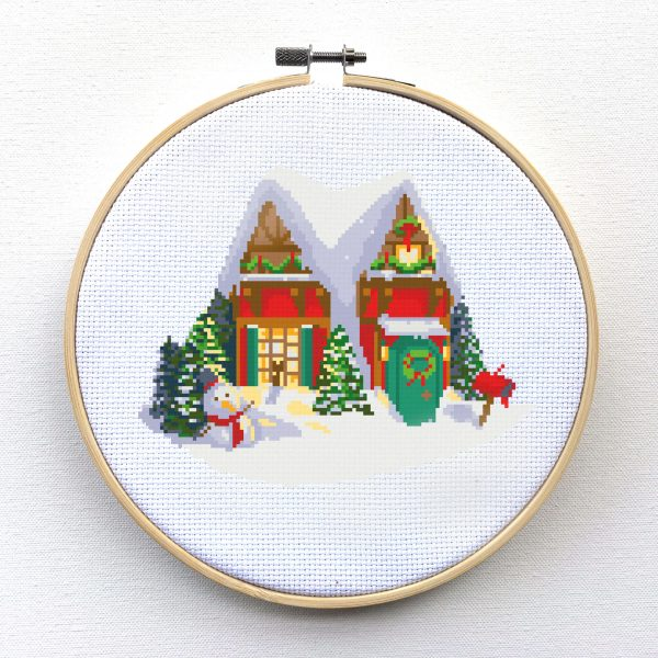 Winter Wonderland Christmas House scene Christmas Cross Stitch Pattern, cross stitch kit leia patterns