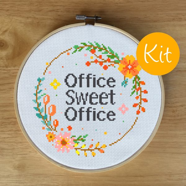office sweet office cross stitch kit, leia patterns