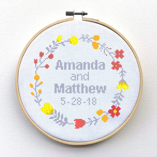 Wedding Cross Stitch Pattern - Custom Cross Stitch, leia patterns, couple cross stitch, marriage cross stitch, cross stitch pattern, pdf, anniversary
