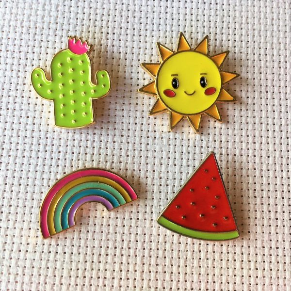 Summer Needle Minders Set - Cute Cactus, Rainbow, Watermelon, and Sun